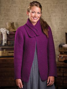 Ravelry: Roseine Jacket pattern by Shannon Mullett-Bowlsby Crochet Jacket Pattern, Crochet Coat, Crochet Cardigan, Crochet Clothes, Crochet Patterns, Crochet Sweaters, Crochet Winter, Coat Patterns, Clothing Patterns