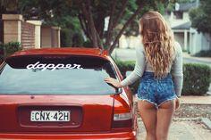 Honda Civic EK with Model Hannah Rae, photography by Mint Media Photography and Video. #civic #ek #jdm #car #red #dapper #chick #ass #happyhumpday # Honda #hoonda #mintchick