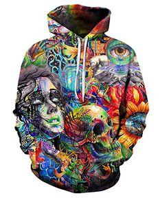 c0db2b350 Trippy Colorful Prints Hoodies Paint Skull Hoody Fashion Hippie Casual  Pullover Jacket Printed Hoodies, Men