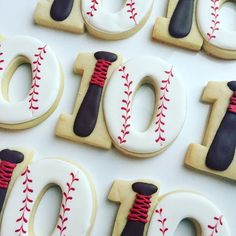 Baseball birthday cookies for my 10 year old. Sugar Cookie Royal Icing, Iced Sugar Cookies, Cookie Frosting, Frosted Cookies, Decorated Cookies, Baseball Birthday Cakes, Birthday Cookies, Birthday Nails, Kids Birthday Themes