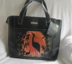 SALE Tote Bag/ Large// Handpainted w Herons on the by JJsBottega - Market Tote, Laptop/IPad Case, Artistic and Functioal OOAK Gift!