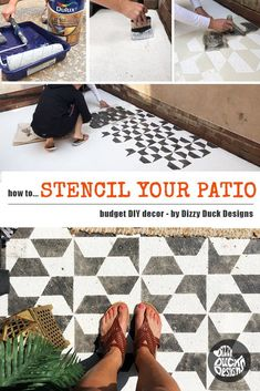 Transforming an ugly concrete patio floor can make a dramatic difference to your outdoor living space and doesn't have t Stenciled Concrete Floor, Painted Concrete Floors, Painted Cement Patio, Painting Concrete Walls, Concrete Patios, Patio Stone, Flagstone Patio, Concrete Backyard, Landscaping