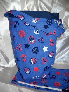 Knitting bag, knitting project bag, matching notions or accessories pouch - blue denim nautical print