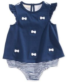 2c7227aa338 First Impressions Bows   Stripes Cotton Skirted Romper