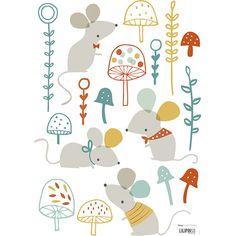 Planche de stickers Souris et champignons forêt - Lilipinso and Co