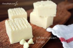 White Russian fudge made with Kahlua