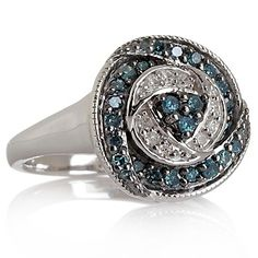 """.37ct Blue and White Diamond Sterling Silver """"Circles"""" Ring at HSN.com."""