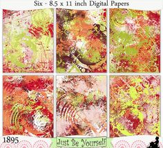 Instant Download Grungy Red Orange and Green Digital Papers by JustBYourself, $3.00 (1895)
