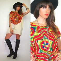 Vtg 60s/70s EMBROIDERED Woven STAR Tribal ETHNIC Hippie TUNIC Mini Dress GYPSY
