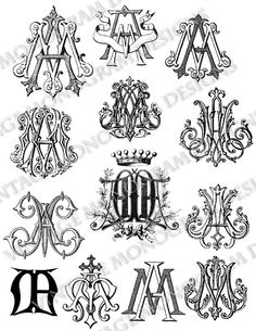Large custom collection of vintage monograms by VintageMonogram
