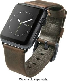 Nomad - Leather Strap for Apple Watch 42mm - Brown/Black - Angle Zoom Apple