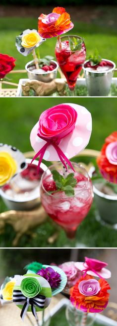 DIY Derby Hat Drink Stirrers- all you need is wrapping paper, paper straws, ribbon, paper flowers and feathers! Serve in Chinet Cut Crystal Champagne Flute with Mint Julep!