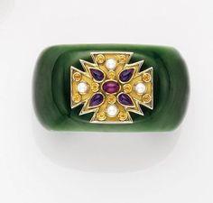 VERDURA. A Jade and Gem-set 'Maltese' Cuff Bracelet, 1970