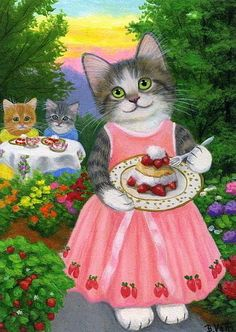 Kittens cats strawberries summer garden flowers original aceo painting art