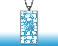 Elephants Blue Monogram Pendant Charm Necklace Personalized Custom Silver Plated Jewelry