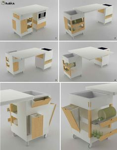 kitchens-rubkaRotate and unfold the RuBiKA kitchen by Lodovico Bernardi any way you wish to adapt Folding Furniture, Multifunctional Furniture, Smart Furniture, Space Saving Furniture, Kitchen Furniture, Furniture Design, Furniture Ideas, Furniture Storage, Mini Kitchen