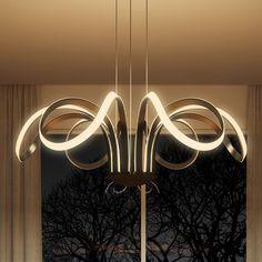 Capella 30-inches LED Adjustable Hanging Light Modern Flower-Pedal Chandelier Lighting in Black