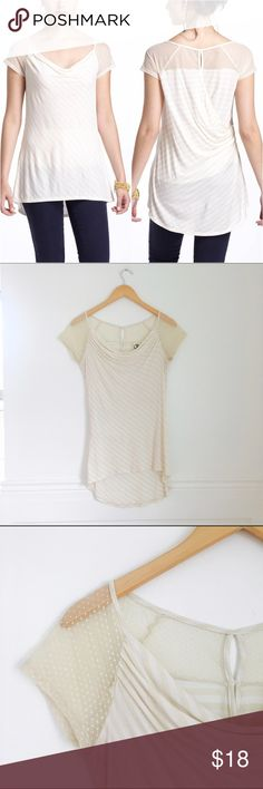 One September top Openings striped tee by One September. Drapey cowlneck with mesh shouders and keyhole back. Rayon and nylon. Size S. In great used condition. Anthropologie Tops