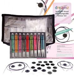 Set of 9 interchangeable needle pairs & accessories in a clear vinyl case. Includes: US 4 US 5 US 6 US 7 US 8 US 9 US 10 US US 11 4 Cords (to make & 2 of 1 Set of size markers, 8 End caps, 4 Cord keys, 1 Cord c Interchangeable Knitting Needles, Yarn Store, Circular Needles, Types Of Yarn, Knitting Projects, Knitting Books, Yarn Projects, Knitting Patterns, Knit Crochet