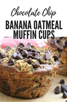 easy Chocolate Chip Banana Oatmeal Muffin Cups are the perfect healthy treat for kids lunchboxes.These easy Chocolate Chip Banana Oatmeal Muffin Cups are the perfect healthy treat for kids lunchboxes. Banana Oatmeal Muffins, Chocolate Chip Oatmeal, Chocolate Chips, Chocolate Muffins, Baking Chocolate, Baked Oatmeal Cups, Oatmeal Muffin Recipe, Easy Healthy Banana Muffins, Oatmeal Breakfast Recipes