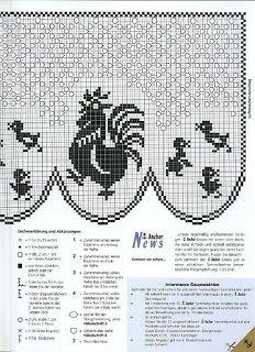 Filet häkeln Gardine - filet crochet curtain Crochet Birds, Crochet Cross, Crochet Home, Thread Crochet, Crochet Motif, Crochet Doilies, Crochet Stitches, Knit Crochet, Irish Crochet