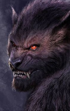 Wolfman: shortened muzzle, so it looks more a compilation of human and wolfy features.