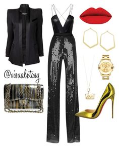 """SlayInTheCityTre"" by visualxtasy on Polyvore featuring AQ/AQ, Balmain, Chanel, Thierry Mugler, Christian Louboutin, Ileana Makri, Tiffany & Co. and Movado"