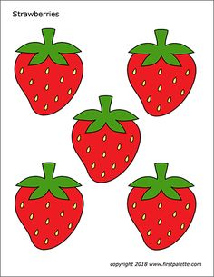 Free printable strawberries to use for various fruit-themed crafts and learning activities. The printables include a strawberry pattern, a strawberry coloring page, and a colored strawberries page. Strawberry Crafts, Strawberry Color, Strawberry Decorations, Cake Templates, Templates Printable Free, Free Printables, Spring Crafts For Kids, Art For Kids, Strawberry Pictures