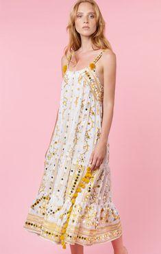 34487642ff0201 White Cotton Midi Dress with Mustard Tribal Tassels from Juliet Dunn Juliet  Dunn, White Cotton