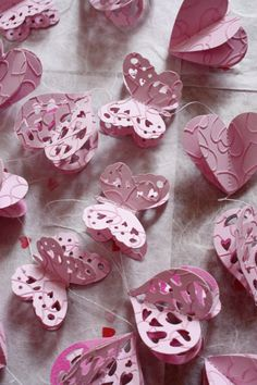Pink Love Heart, Butterfly Garland 3d. £8.00, via Etsy.