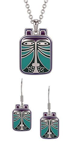 Laurel Burch Toshio Cat Purple / Blue Cloisonne Necklace / Earrings Set $74.99