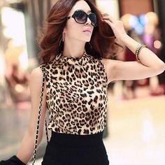 2016 American Apparel Cotton T Shirt Women Clothing Sexy Leopard Shirt Women's High collar Sleeveless T Shirt Women Femme