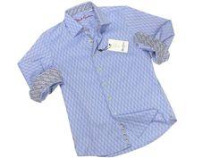 Boy's Sport Shirt 21287 Blue Jaquard Check