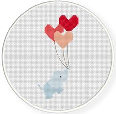 Hearts Away PDF Cross Stitch Pattern por DailyCrossStitch en Etsy