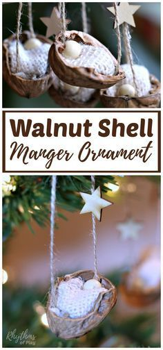 This DIY rustic homemade walnut shell manger Christmas ornament can be made by kids, teens, and adults. Handmade ornaments like this kid-made baby Jesus in the manger are perfect for the Christmas tree. You can also use this walnut nature craft as a part of a nativity scene. They make beautiful decorations and are a great keepsake gift idea! #ornament #DIY