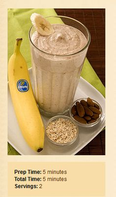 Banana Smoothy-2 whole Chiquita Bananas-best with brown flecks on peel,2cups Ice,1/3cup Yogurt preferably Greek yogurt flavored with honey,1/2cup Cooked oatmeal,1/3cup Almonds Pour all ingredients in blender pouring ice in last. Blend on high for 30 seconds or until smoothie thickens.Calories 380; Total Fat 15 g Cholesterol 5 mg; Sodium 35 mg; Potassium 690 mg; Total Carbohydrates 53 g; Dietary Fiber 9 g; Total Sugars 19 g; Protein 12 g. Percent Daily Value: Vitamin A 2%; Vitamin B6 25%;