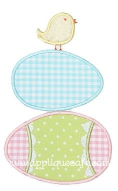 Easter Eggs with Chick Applique Design
