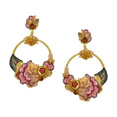 Embroidered Golden Flower Circle Earrings by DUBLOS