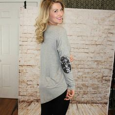 Sequined Elbow Asymmetrical Tunic Top in Gray on Poshmark