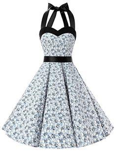 Dresstells Neckholder Rockabilly 50er Vintage Retro Kleid Petticoat  Faltenrock: http://amzn.