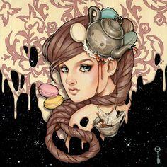 Glenn Arthur #art #drawing #illustration #painting #girl #anime #beautiful #tea #pink #party