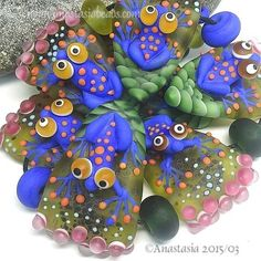 "ANASTASIA--handmade lampwork beads--(7)--""BLUE FROGS""--SRA #Lampwork"