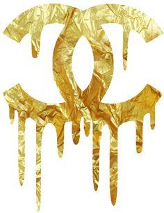 chanel - dripping - gold - logo