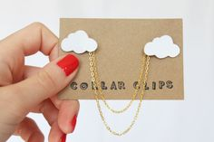 These pretty cloud collar clips have been carefully hand drawn and cut at my home studio in Hertfordshire, England. They look perfect pinned to a