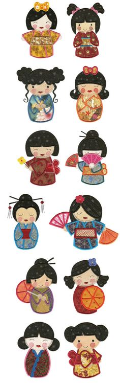 DBJJ455 Kokeshi Dolls Applique
