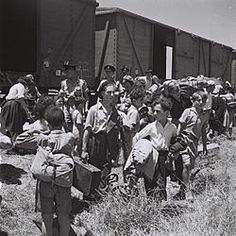 Young Holocaust survivors arriving at Atlit, 1945