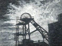 Headgear at Woodhorn, Northumberland Black Background Painting, Coal Mining, Art Uk, Slums, Places Of Interest, Newcastle, Black Backgrounds, Painted Rocks, Vintage Photos