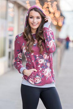 Flower Hour Hooded Floral Print Sweatshirt (Burgundy) - NanaMacs.com - 5