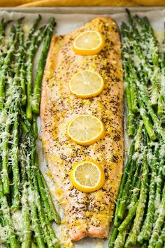 One Pan Roasted Lemon Pepper Salmon and Garlic Parmesan Asparagus - Cooking Classy---omit dijon for 9010 nutrition unless you can find one with no sugar listed in ingredients Salmon Recipes, Fish Recipes, Seafood Recipes, Cooking Recipes, Healthy Recipes, Oven Recipes, Cooking Ideas, Salmon Meals, Cooking Bacon