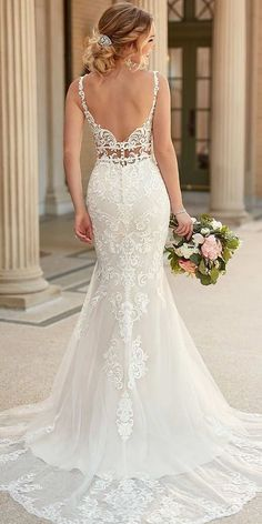 Wedding Dresses Lace Beach 6914 Mixed-Fabric Bridal Gown with Double Banded Waist by Stella York.Wedding Dresses Lace Beach 6914 Mixed-Fabric Bridal Gown with Double Banded Waist by Stella York Backless Mermaid Wedding Dresses, Princess Wedding Dresses, Best Wedding Dresses, Mermaid Dresses, Strap Wedding Dresses, Romantic Wedding Gowns, Lace Trumpet Wedding Dress, Fitted Wedding Gown, White Lace Wedding Dress